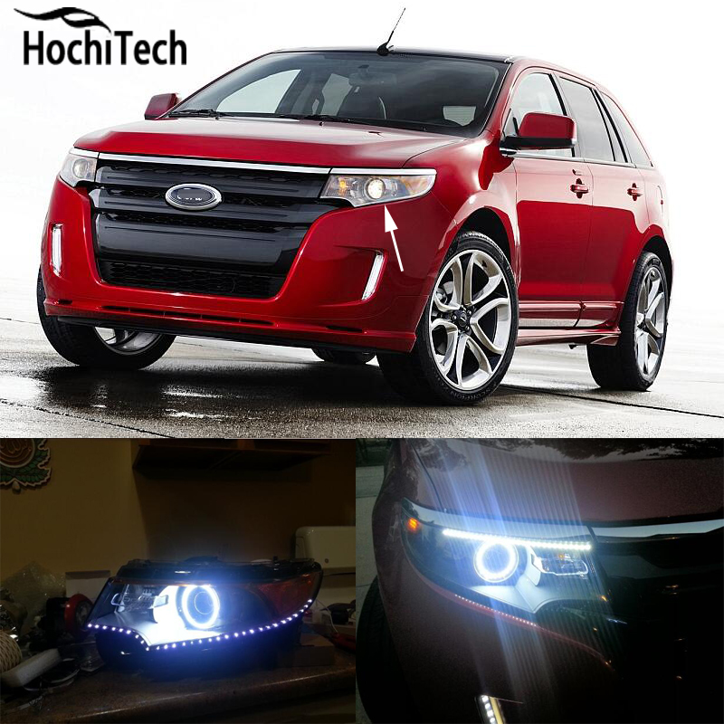 for Ford Edge 2011 2012 RGB LED headlight rings halo angel demon eyes with remote controller 2pcs purple blue red green led demon eyes for bixenon projector lens hella5 q5 2 5inch and 3 0inch headlight angel devil demon