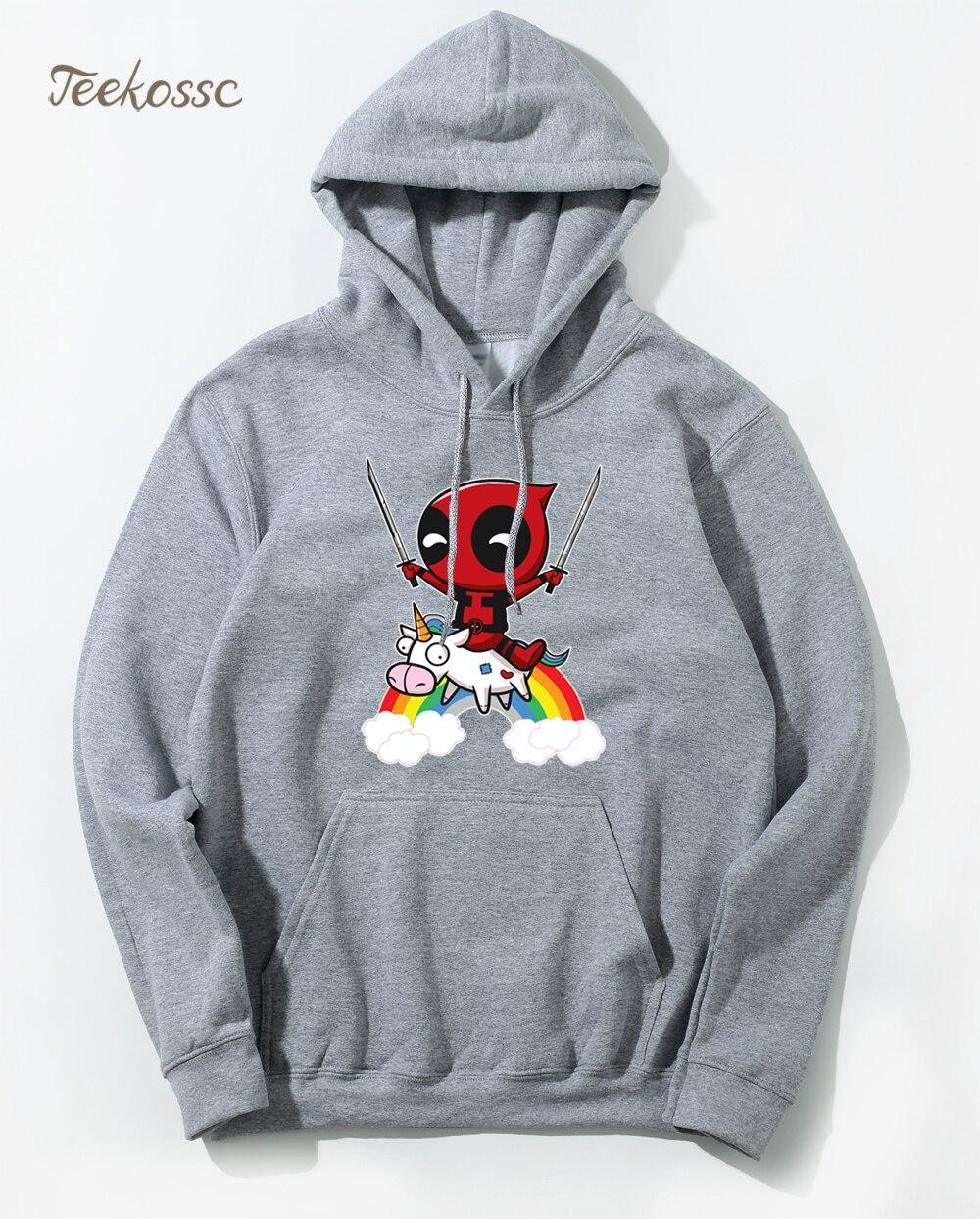 Deadpool  Hoodie Men Deal Pool Funny Hoodies Mens 2018 Winter Autumn Super Hero Hooded Sweatshirt Grey Hip Hop Streetwear