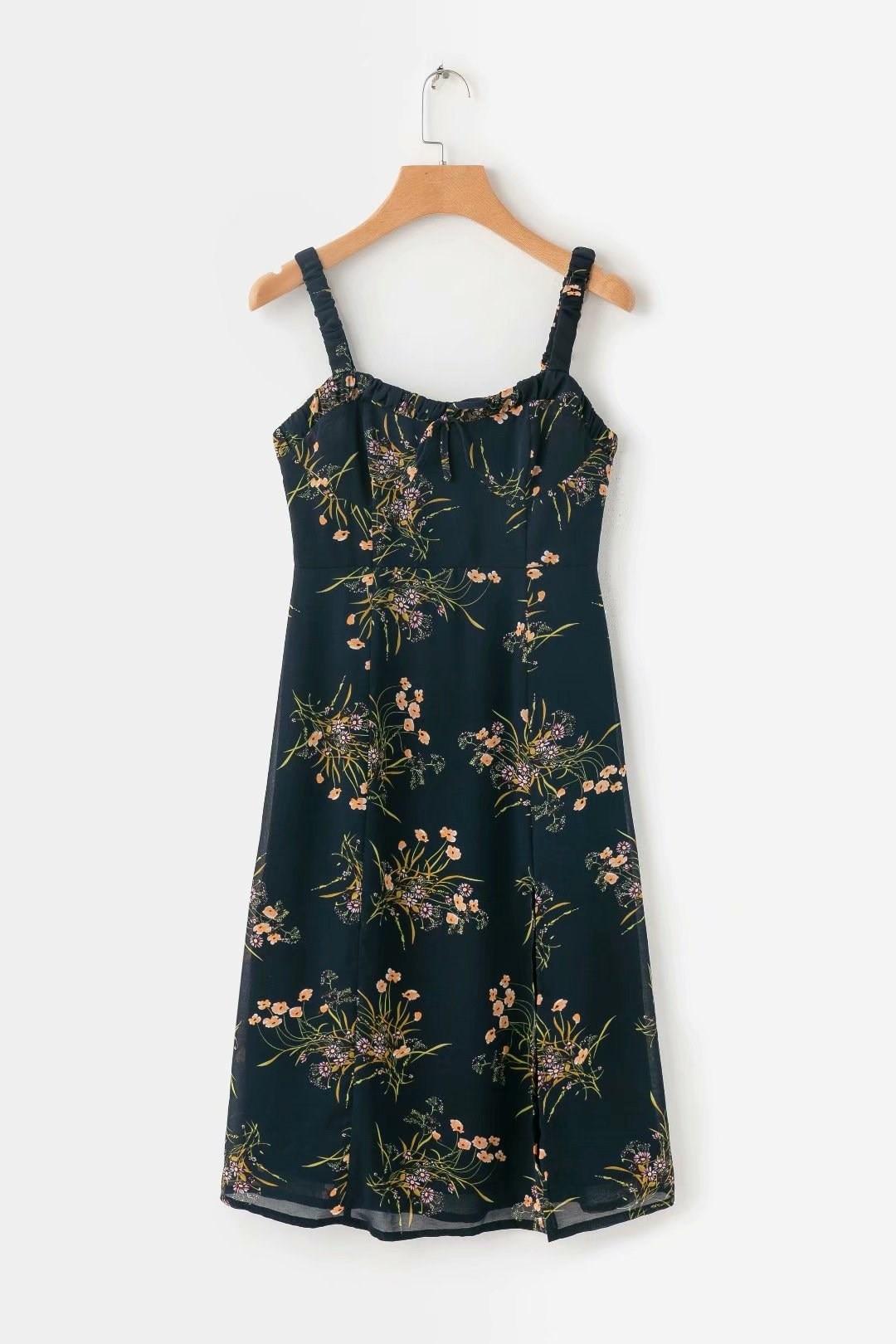 2019 Fashion Women Floral Print Chiffon Dresses Slim Split Midi Dress Black Spaghetti Straps Casual Dress in Dresses from Women 39 s Clothing