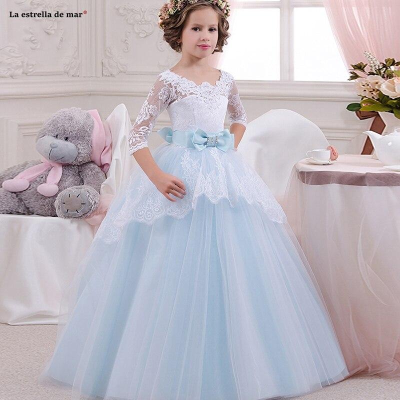 Flower     girl     dresses   for weddings 2019 new Scoop neck lace half sleeves sleeves ALine light blue pink champagne light purple vest