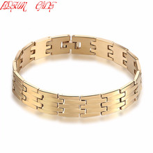 BLEUM CADE Thick Heavy Boys Mens Biker Bracelet Gold Plating 316L Stainless Steel Bracelet Wholesale Jewelry