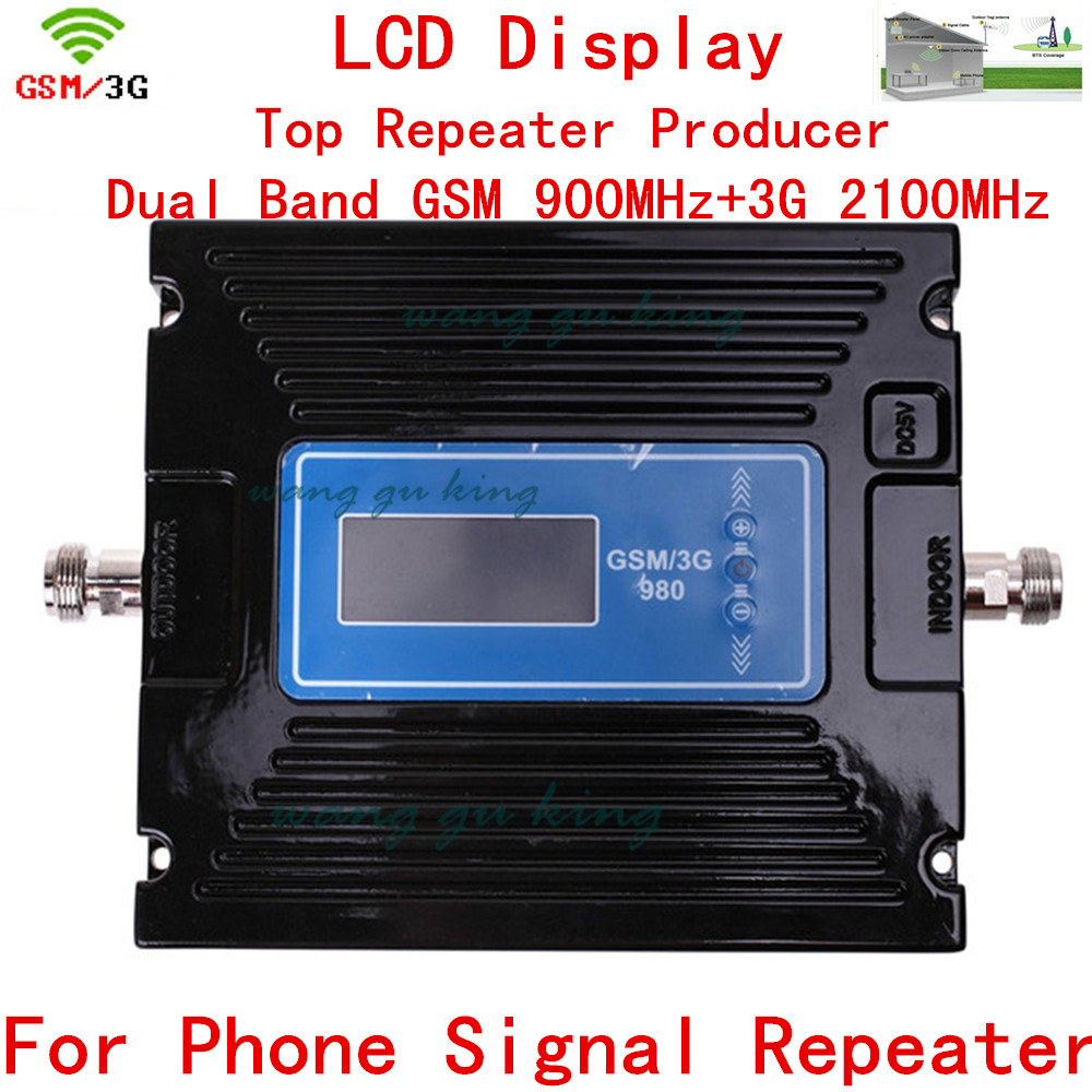 Latest GSM 2G 3G Repeater Dual Band Booster Gain Adjust Mobile Signal GSM WCDMA GSM Booster GSM 900MHz 3G 2100MHz Amplifier