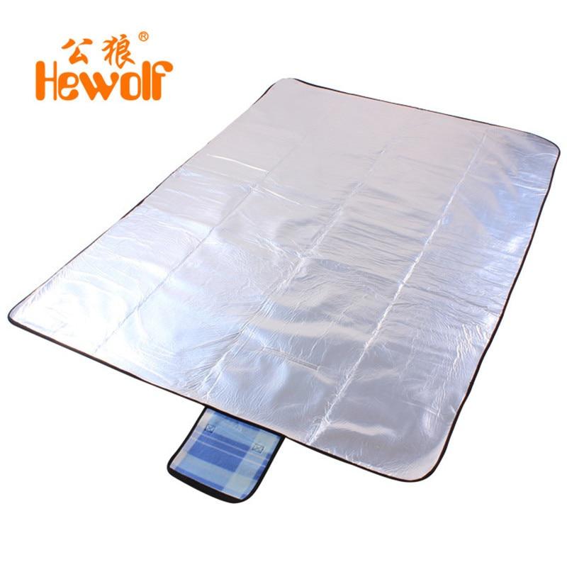 Hewolf tapis de Camping pliable pliant matelas de couchage tapis Pad feuille d'aluminium en plein air là taille imperméable plage Plaid couverture