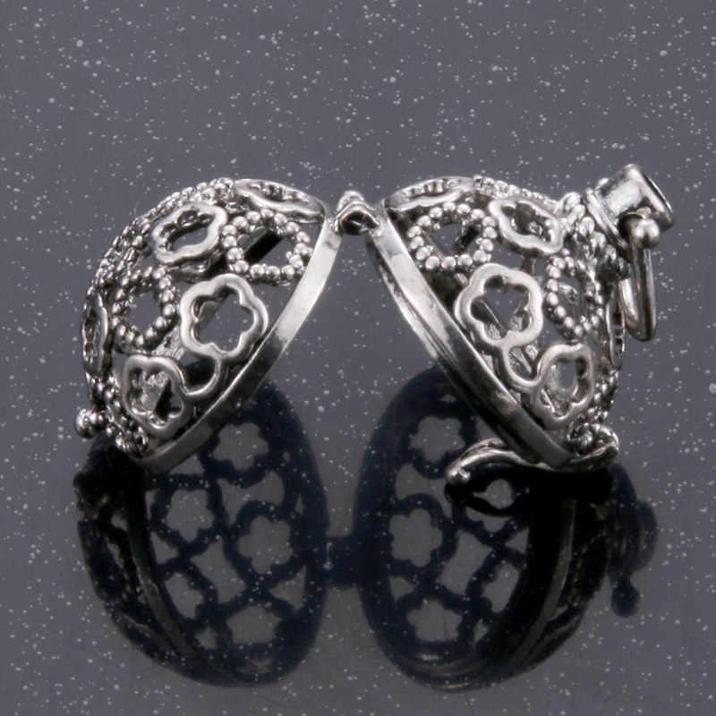 Forma de flor 1pc jaula hueca pelota de filigrana difusor de caja relicario de collar colgantes para DIY Perfume Aceite Esencial hallazgos de joyería