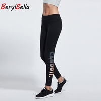 2016 Autumn Winter High Waist Women S Fitness Leggings Trousers Solid Skinny Balck Printed Workout Jeggings