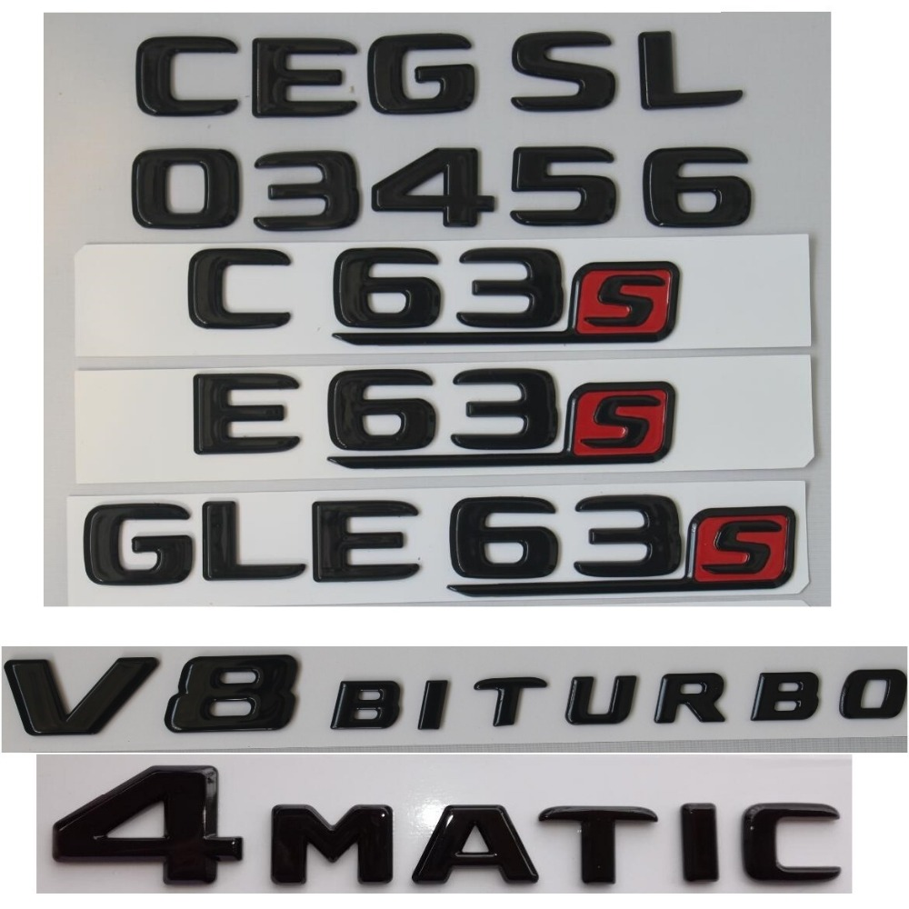 black S AMG Letters Trunk Emblem Badge Sticker for Mercedes Benz C63 W205 W212