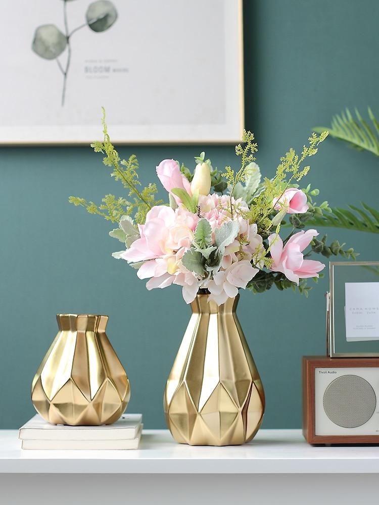 Light Luxury Golden Ceramic Vase Home Decorations Ornaments Dining Table Creative Flower Vase Vases Aliexpress