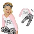 baby girls clothes set 2017 Baby Kids Girls Clothes T-shirt Pants Leggings Headband 3PCS Outfits Set toddler girl clothing good