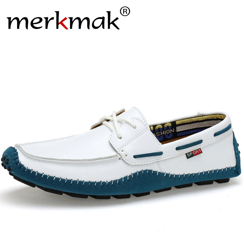 Merkmak Italian Genuine Leather Man Loafers Designer Slip On Driving Shoes Men High Quality Brand Soft Flats Large Size