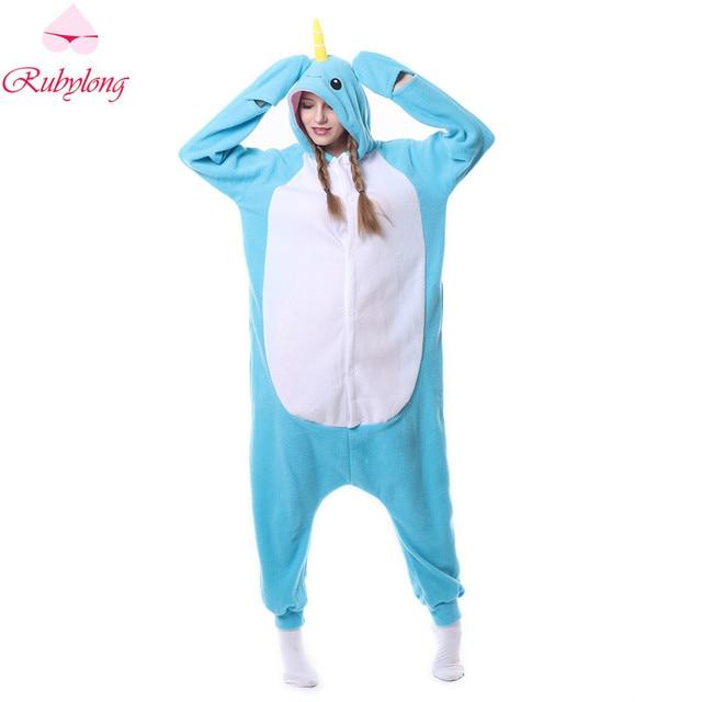 Rubylong 2017 Pajamas Set Women Hoodies Cartoon Narwhal One Piece Pyjamas  Cute Fleece Animal Sleep Home