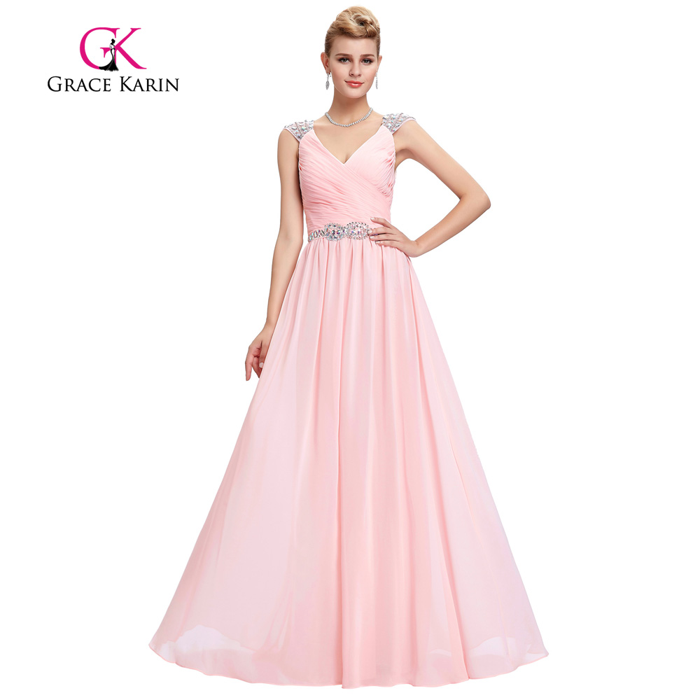Grace Karin vestido de noche rosado elegante spaghetti Correa Deep V ...