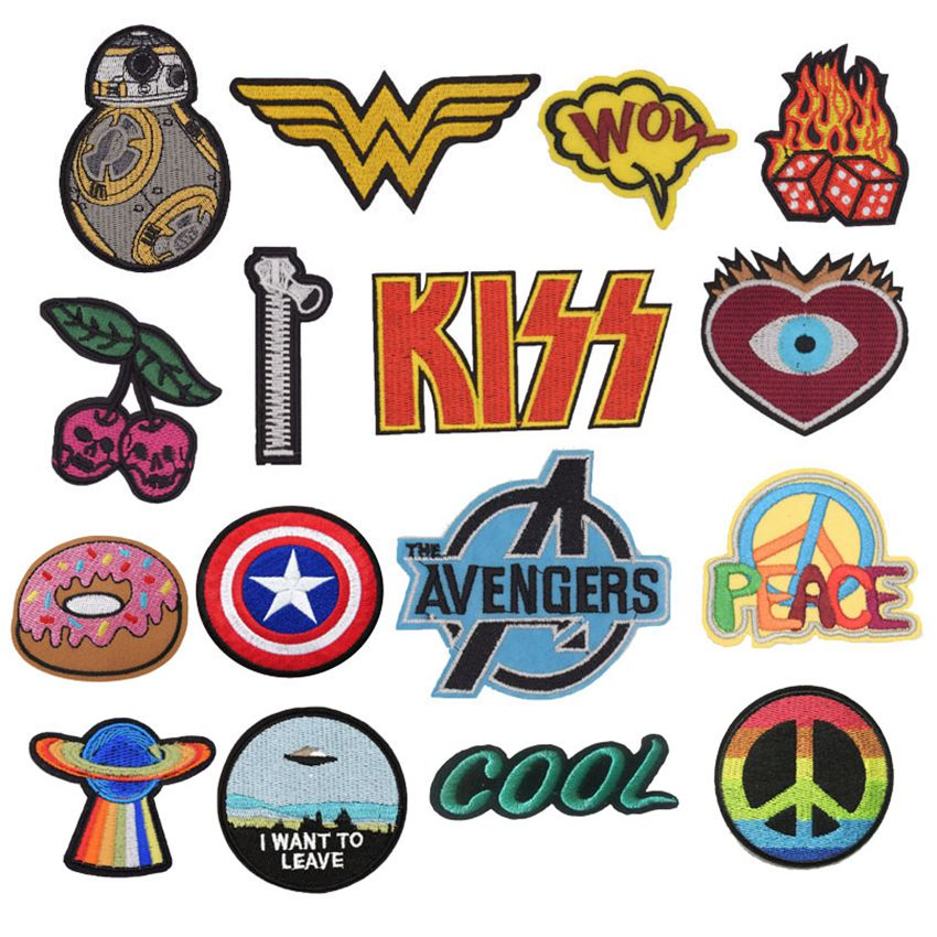 Cherry Kiss Pokemon Zipper Avengers Peace Star War Patches Embroidered AppliqueIron On Badge Clothes Garment Apparel Accessories