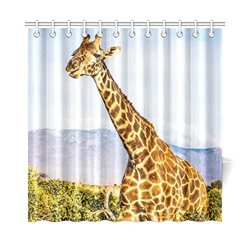 Free Giraffe Bathroom Shower Curtain Accessories, 72W X