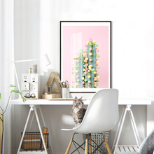 Donut Cactus In Bloom Posters and Prints Wall Art Nordic Girl Canvas Painting Pictures For Living Room Scandinavian Home Decor