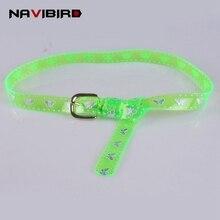 2018 Unif Style 90S Thunderbolt Butterfly Transparent Belt Women Green Clear Belt Dress Sweet Candy Plastic Pvc Waistband Riem