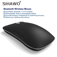 Bluetooth 4.0 2.4G Mouse silent USB Dual Mode 1600dpi Optical Mouse Fashion Mini 400mAh Computer Peripherals