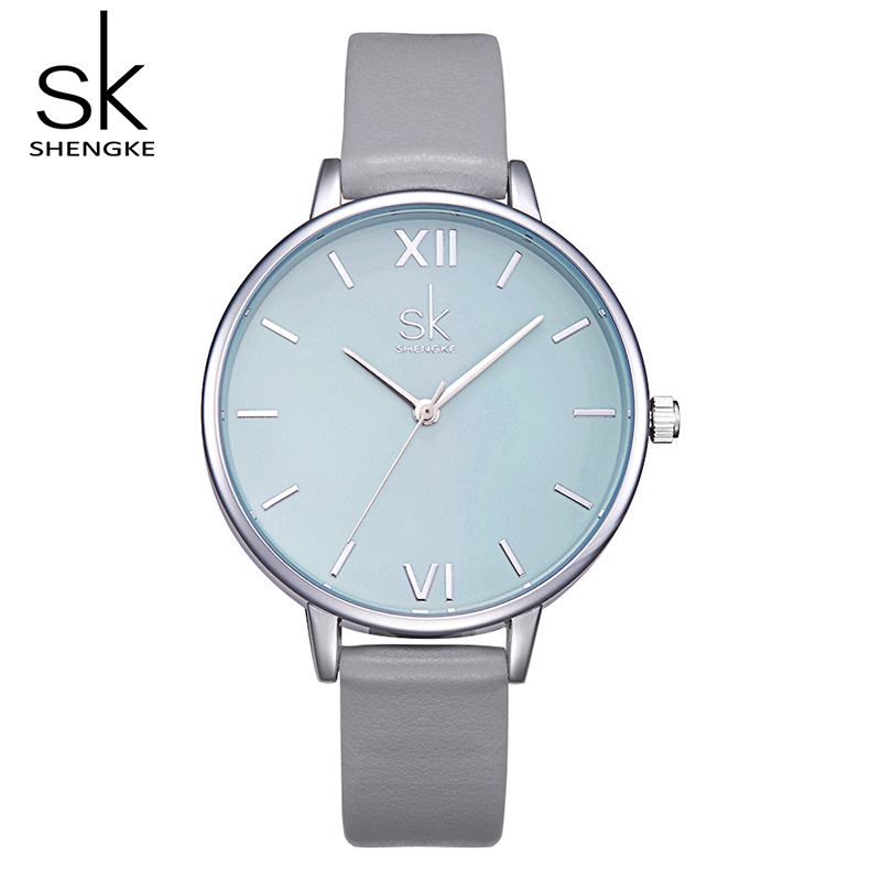SK Watches Women Gray Leather Strap Quartz Watches Montre Femme Reloj Mujer 2017 Luxury Brand Fashion Wrist Watches For Women otoky 2017 women watches fashion thin belt rhinestone strap quartz wrist watch woman reloj montre femme apr26