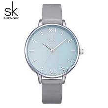 hot deal buy 2017 new sk quartz watches women gray leather strap montre femme 12mm thin watchband women clock wrist watches reloj mujer