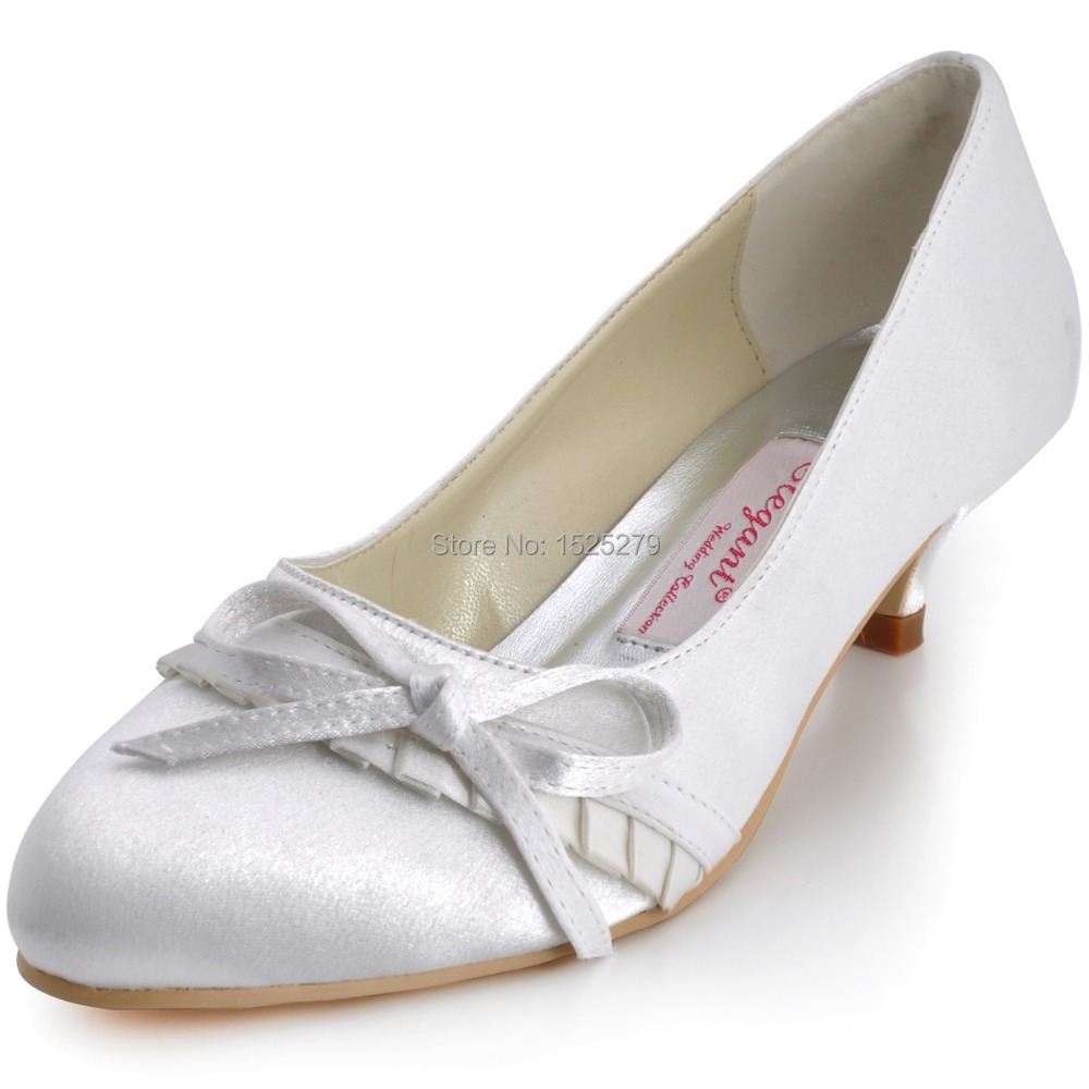 Women Shoes EL-032 White Ivory Formal Bride Bridal Closed Toe Evening Prom Party Pumps Low Heel Ruffled Satin Bow Wedding Shoes comfortable satin dress shoes hoof heel bridal wedding party prom evening pumps mid heel red royal blue champagne white ivory