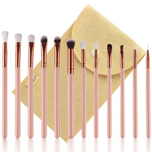 DE'LANCI 12 PCS Complete Eye Makeup Brush Set Eyeshadow Eyeliner Blending Pencil Makeup Brushes Rose Golden Handle With Case