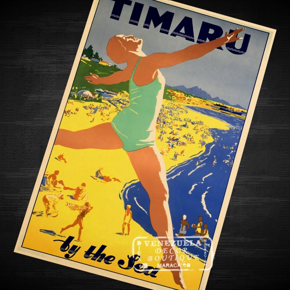 Timaru Sea Stamp New Zealand NZ View Landscape Vintage Retro Canvas ...