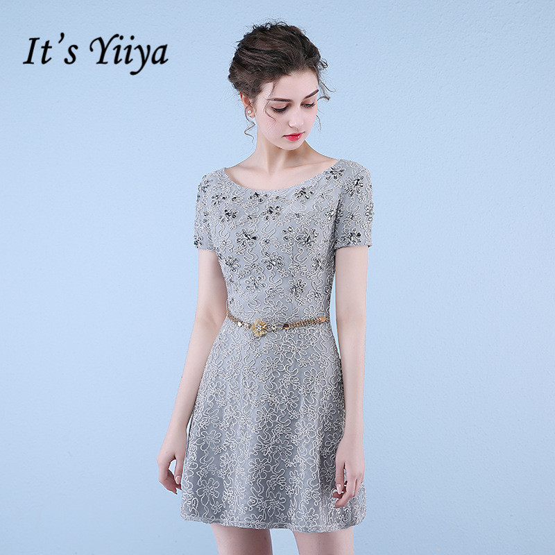It's YiiYa Elegant Gray O-Neck Short Sleeve Appliques Crystal Cocktail Dresses Above Knee Length Formal Dress Party Gown LX470