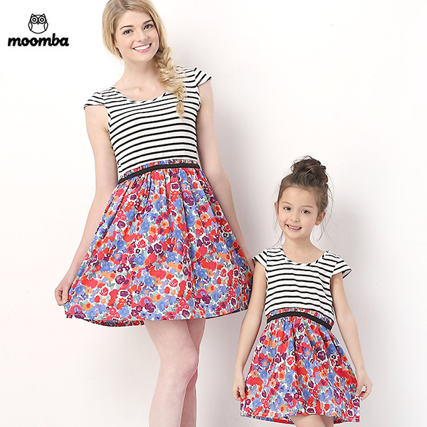 2e1b69f84ffb 2015 New Summer Family Matching Clothes Mother Daughter Matching Dresses  Fashion Watercolour Printing Dress Girls Clothes-in Matching Family Outfits  from ...