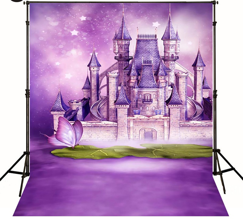 цены  castle wall Butterfly Purple Stars photo backdrop Vinyl cloth Computer printed newborn Backgrounds