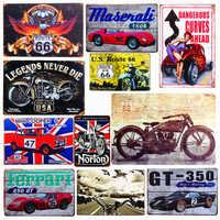 Plaque thème voiture Vintage métal étain signes moto affiche murale décalcomanies Plaque peinture Bar Club Pub décor à la maison mur 20*30cm A134