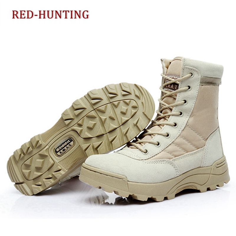 Men desert military tactical boots male Outdoor waterproof hiking shoes women non-slip wear sports climbing shoes