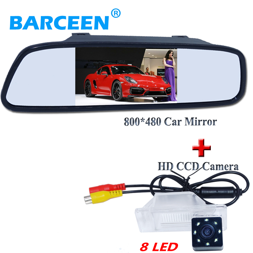 8 led lentille voiture parking caméra + noir voiture caméra de recul 4.3