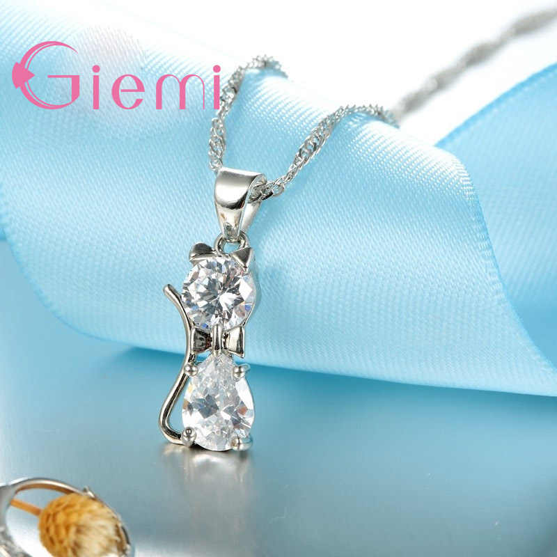 Echte Top Hoch 925 Sterling Silber Klar Zirkonia Katze Anhänger Halskette + Ohrringe Heißer Kristall Schmuck Für Frauen