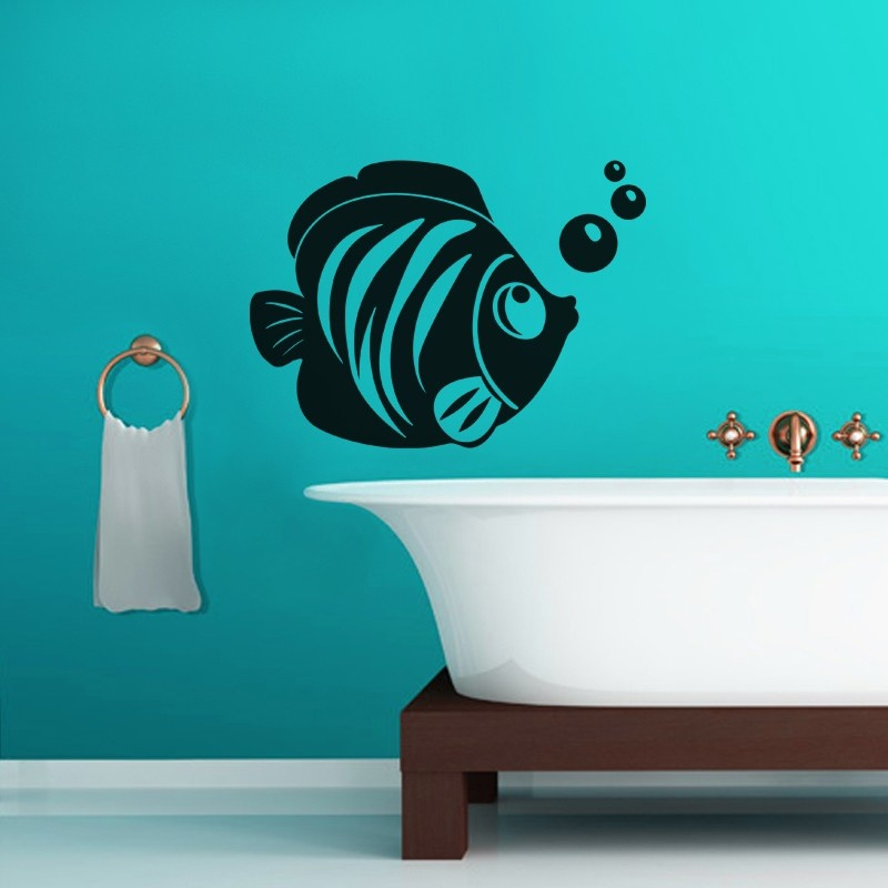 Fish With Bubble Wall Decal Home Decoration Nautical Wall