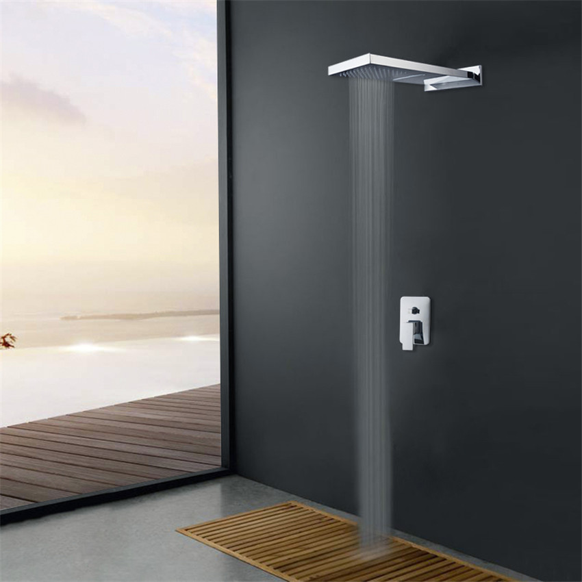 bathroom tow shower way shower faucet set bar shape rainfall shower head and control valve shower set