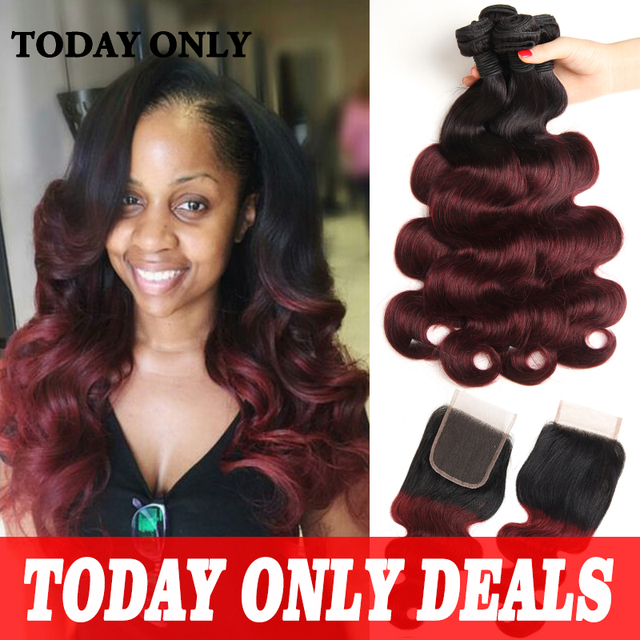 Mink Brazilian Virgin Hair Body Wave with Closure 1b 99J Burgundy Ombre Brazilian Hair With Closure Lace Closure With Bundles