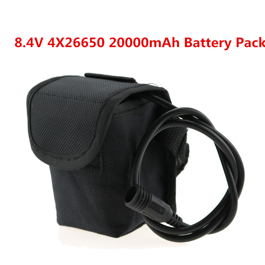 20000mAh 4*26650 8.4v Rechargeable Battery For T6//U2 Road Cycling Bicycle Light