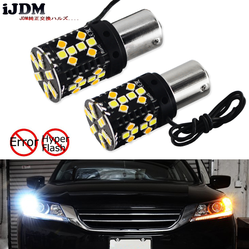 No Hyper Flash BAU15S LED Canbus 7507 PY21W Switchback White/Amber LED Bulbs For Daytime Running Lights/Turn Signal Lights 12V ijdm no hyper flash bau15s s25 7507 led white amber switchback led bulbs for daytime running lights turn signals 12v canbus