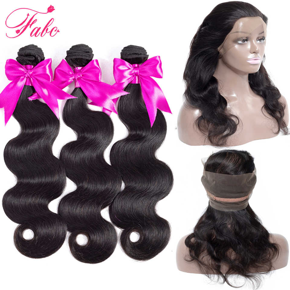 Fabc hair 360 lace frontal with bundles 100% remy brazilian human hair with closure body wave bundles with 360 frontal