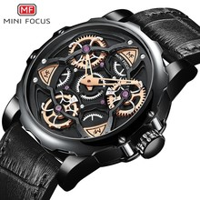 MINIFOCUS 3D Hollow Creative Watch Men Rotating Wheel Design Sports Watches Mens 2019 Luxury Brand Leather Military Quartz