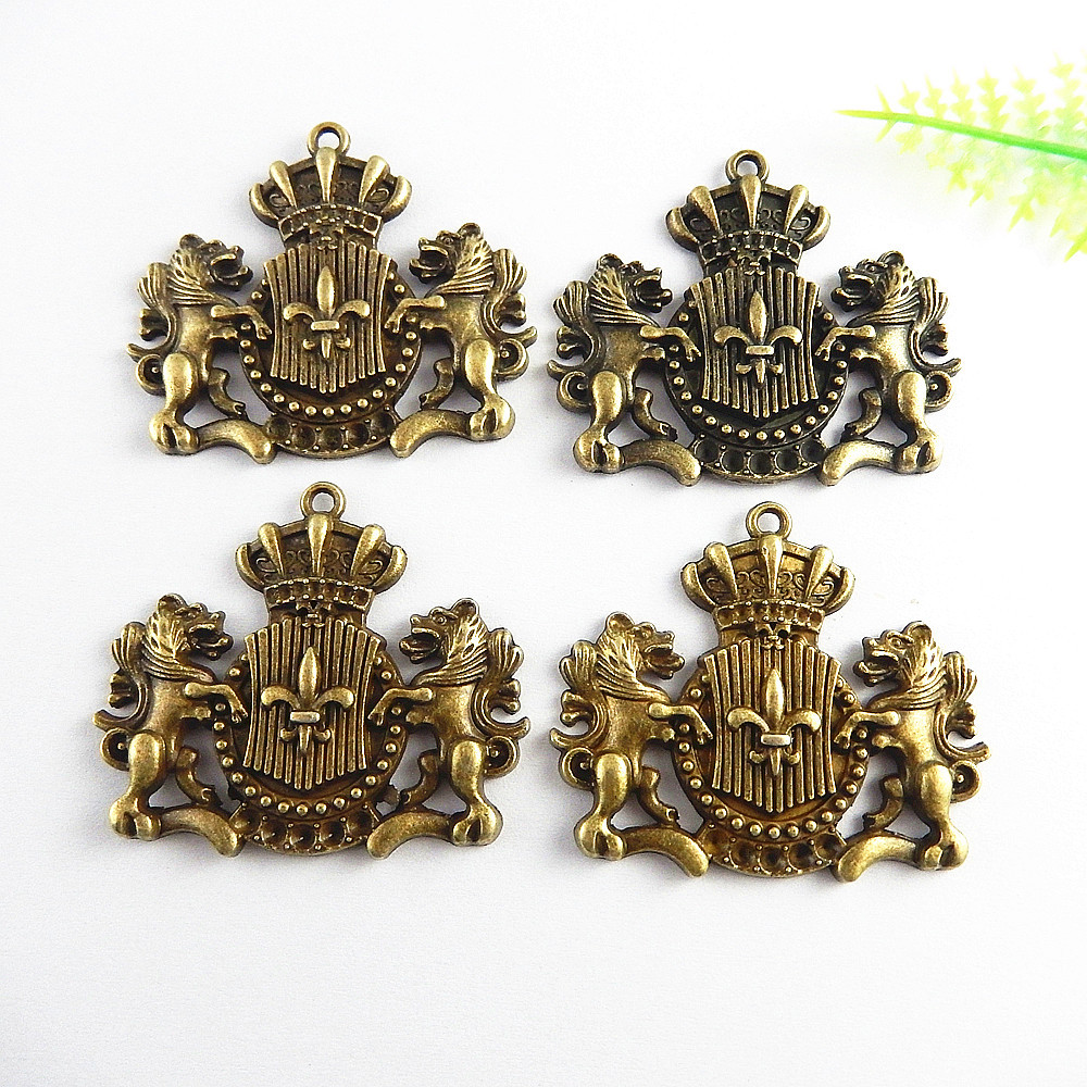 5pcs/lot Causal Antique Bronze Football Sign Pendant Charms NecklaceBracelet 44*38mm Religious Jewelry Fine Gifts Crafts 51240