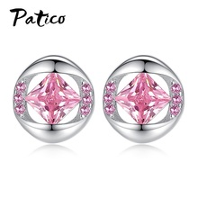 цена на New 925 Sterling Silver Fashion Concise White Pink Stud Earrings For Women Cubic Zirconia Piercing Ear Rings Wedding Jewelry