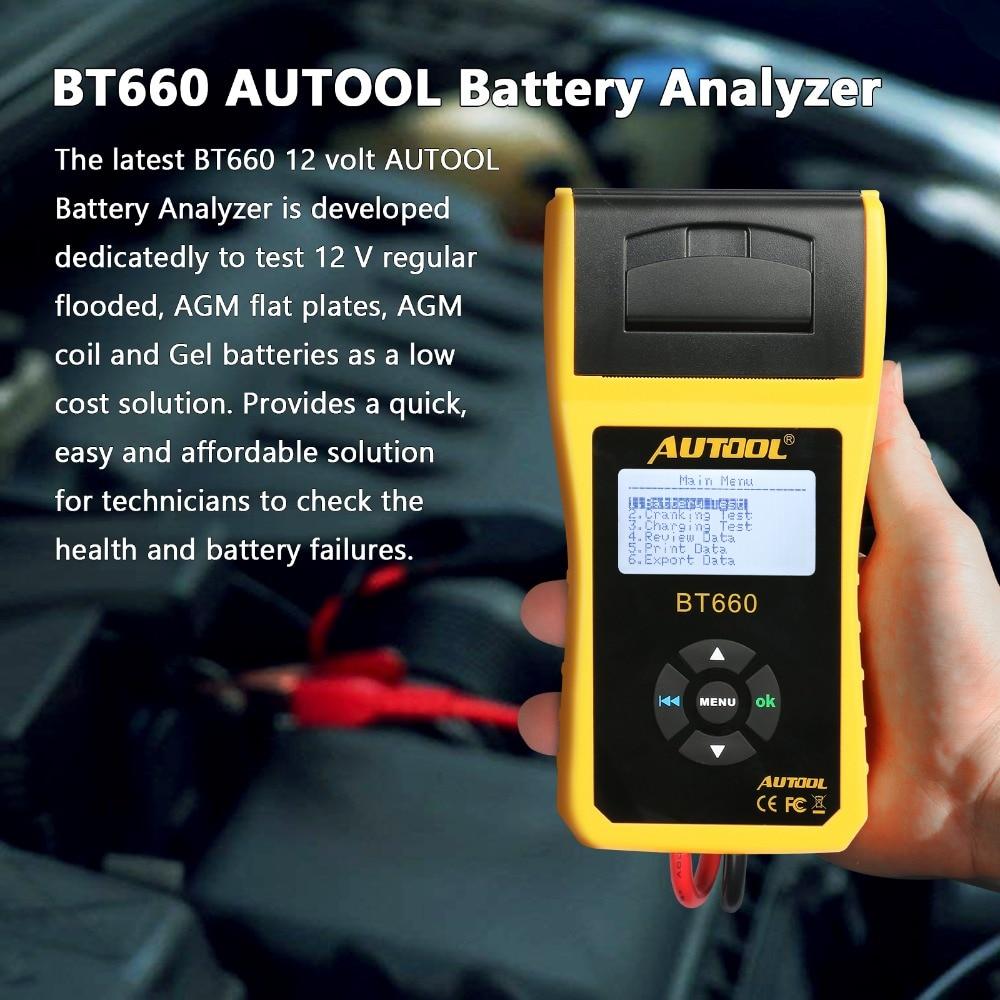 AUTOOL BT660 автомобиля батарея тестер с В принтом 12 В встроенный термальность принтер Multi язык Авто Диагностика инструмент для ремонта мастерск...