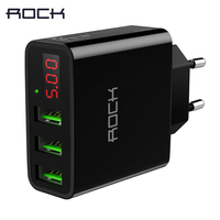T14 3 Ports Travel Charger ROCK 2 4A Smart Digital Display Fast Charge Phone Charger For