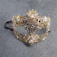 Caliente Diablo Cráneo de la máscara Veneciana de La Mascarada del Oro de Filigrana laser cut metal máscaras Del Carnaval de Disfraces de halloween máscara máscara de carnaval