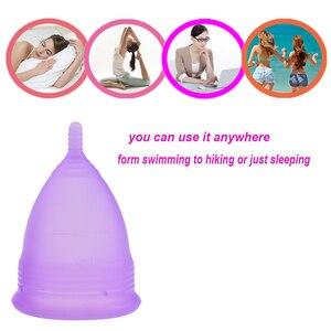 Image 4 - 100 pz/lotto Commercio Allingrosso riutilizzabile copo mestruale in silicone copa mestruale coupe menstruelle mestruazioni tazza di gel di silice della tazza della signora