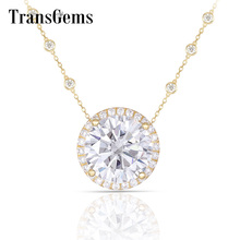 Transgems Solid 14K Yellow Gold Center 5ct FGHColor Moissanite Halo Pendant Necklace 18 Inch Chain for Women Fine Jewelry Gifts lasamero halo 0 052ct 18k gold round cut square center pave set natural diamond pendant necklace chain women fine jewelry