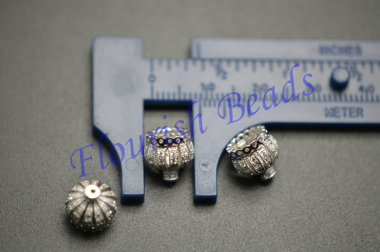925 Silver Paved CZ 11mm Crown Shape Bead Caps Fit Popular Tassel Pendant making Fashion Jewlry making