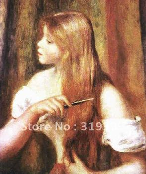 Oil Painting Reproduction on linen canvas,young girl combing her hair  by pierre auguste renoir, Free Shipping,handmade