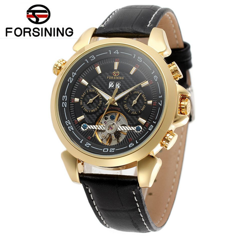 FORSINING Horloges Mannen Men's Famous Watches Brand Day/Week Tourbillon Auto Mechanical Watches Wristwatch Gift Box Free Ship fashion men s horloges mannen roman auto day quartz stopwatch sport men s watch mens wirst watches gift box free ship