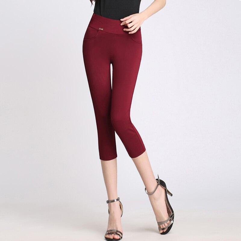 Summer Brand New Women Skinny Casual Capris Pants Black ...